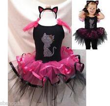 NWT Girls Cat Costume Cosplay Party Tutu Dresses Dance Ballet w/Headband 2T-7T