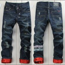 Korean style,men's Cuffed hip hop jeans hole ripped jeans pants size 28-34