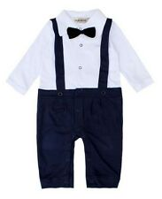 3-24 Months Baby Boys BowTie Long Sleeve Tuxedo Onesie Romper Outfit Wedding