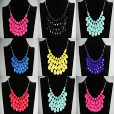 Fashion Women Exquisite Water Droplets Shape Bubble Resin Bib Statement Necklace