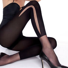 "Black Opaque Patterned Tights ""Flow"" 50 Denier - pattern on the side"