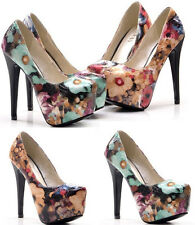 Womens Super High heels fashion Oil painting style platform sexy Single Shoes