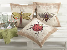 """Embroidery Insect Decorative Throw Pillow, Filler Included, 17""""x17"""", 3 Designs"""