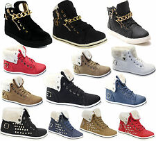 WOMENS FUR LINED WINTER ANKLE BOOTS LADIES HIGH TOP SHOES GIRLS PLIMSOLE TRAINER