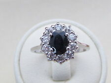 925 Sterling Silver  Black Sapphire Cluster Engagement / Cocktail Ring