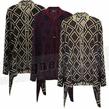 Ladies Womens Diamond Knitted Waterfall Cardigan Drape Side Stretch Ruched