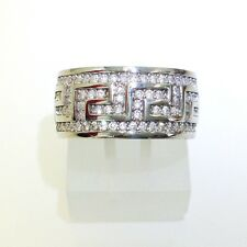 925 STERLING SILVER GREEK STYLE CLEAR CZ RING JEWELRY