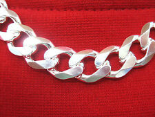 MADE IN ITALY - 925 STERLING SILVER 11.5mm THICK BIG CURB LINK 20' 22' 24' CHAIN