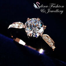 18Ct Rose Gold GP Swarovski Diamond 2.0 Carat Side Stone Engagement Wedding Ring