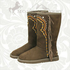 Montana West Fringe Winter Boots Cowboy Cowgirl Ladies Western Brown Western New
