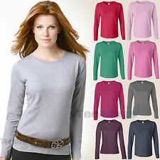 LAT  Ladies Long Sleeve Combed Ringspun Cotton Crewneck T-Shirt S-3XL Sizes 3588