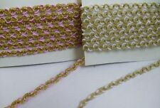 6MM Braided Fancy White / Metallic Gold / Pink Trims Christmas- 5 Yards (T221)