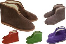 Womens Mens Unisex Suede Leather Sheepskin Slipper Boots All Size