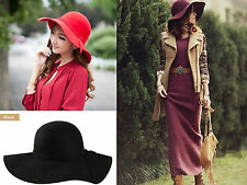 Vintage Lady Women Wide Brim Bowler Fedora 100% Wool felt Hat Floppy Cloche Cap