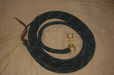 12' or 14' Black with Teal Tracers Yacht  Rope Training Lead for Parelli Method