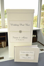 Personalised Wedding Guest Book & Post Box Set. Ivory Guest Book & Post Box Set.