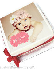 PHOTO CAKE with Pink Scroll Box Cake Topper | ADD TEXT | Rice paper or Deco |