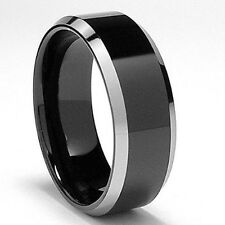 Two Tone Black Tungsten Ring Beveled Wedding Band Size 6 - 13 & half size