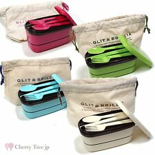 Made in Japan Bento Lunch Box SET 2Tiers 4 kinds Color  Free shipping
