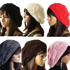 Stylish Women's Beret Braided Baggy Beanie Crochet Hat Knitting Ski Cap B65U NEW
