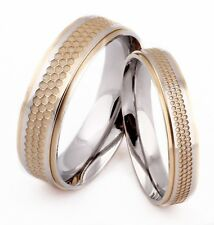Couples Promise Ring Gold Silver 316L Stainless Steel Wedding Band Comfort Fit