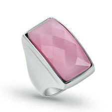 Fashion Stainless Steel Women Pink Opal Stone Pretty Ring Size 6 7 8 9 10 11 12