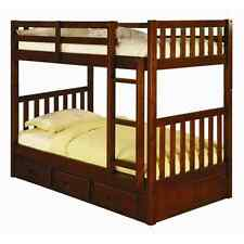 Twin over Twin Mission Bunk Bed - Merlot -Kids Furniture