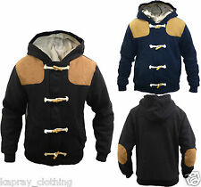New Mens winter hooded zip jacket MJK880 fleece lining,wood toggle & suede patch