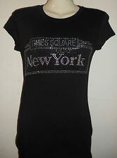 Times Square New York in Rhine Stone Letters on Women's Cap Sleeve T-Shirt