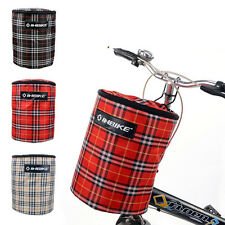 New Bike Bicycle Front Folded Handlebar Canvas Storage Basket Carrier Tote Bag
