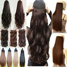 "17/23/24/26"" 3/4 Full Head Clip In Hair Extensions Straight Wavy Real Synthetic"
