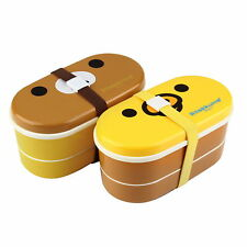 Lovely High Heat Resistance Double Layers Chopsticks Plastic Bento Lunch Box HS