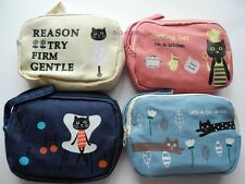 Black Cat / Kitty Cosmetic Coin Change Card Purse Bag Case 4 Colors Choosing