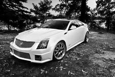 Poster of Cadillac CTS-V Left Front Black and White HD Print Free Shipping