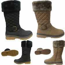 NEW LADIES WOMENS FLAT FUR QUILTED CALF GRIP SOLE WINTER SNOW BOOTS SHOES SIZE