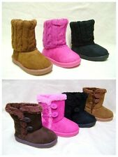 New  Toddler Infant  Winter  Black/Pink/Brown  Fur Suede Boots Shoes size3--12