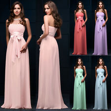 Beaded Long Chiffon Evening Formal Bridesmaid Wedding Ball Gown Prom Party Dress
