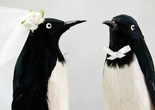 Penguin Love Birds Cake Topper: Humorous, Winter Wedding Cake Topper / Ornament