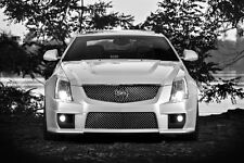 Poster of Cadillac White CTS-V Front Black and White HD Print Free Shipping