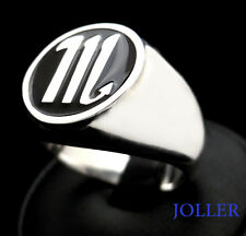 Zodiac Signet Ring Round L- Large 17mm Enamel 3D Personalized Silver by Joallier