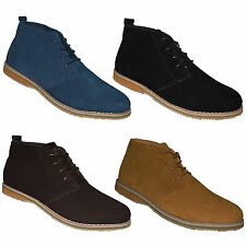 MENS NEW SUEDE LEATHER WINTER LACE UP FASHION ANKLE DESERT CASUAL BOOTS SIZE UK