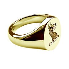 18ct Solid Gold Unisex Oval Signet Ring 13x11mm Your Family Crest Hand Engraved