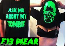 ASK ME ABOUT MY ZOMBIE Lots of Colours  T SHIRT Scary Funny Face Inside out over