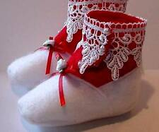 New Handmade Victorian Style High Button Felt Baby Shoes - Soft Booties
