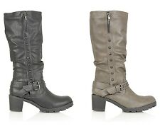 WOMENS DESIGNER STUDDED FULL ZIP LEATHER INSOLE WINTER BUCKLE KNEE HIGH BOOTS