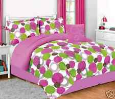 Girls comforter set pink green white circles liberty bed in a bag twin