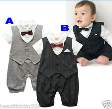*Baby Boy Bow Tie Waistcoat Tuxedo Bodysuit Christening Wedding Babygrow Outfit*