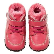 Little Blue Lamb Red Coral fleece Cow Leather Soft Soled Baby Girl Shoes 6-24M