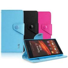 IMAK Cross Leather Flip Wallet Cover Case for Sony Xperia C C2305 S39h