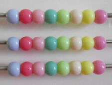 25 50 OR 100  SMOOTH ACRYLIC BEADS SPACERS MIXED  COLOURS FIT EUROPEAN BRACELET